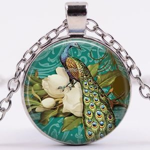 Necklace- NEW- Peacock Feather Bird